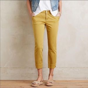 Anthropologie Pilcro Stet Cropped Mustard Pants